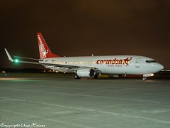 Corendon Airlines OM-GTH HAJ at Night (U. Heinze) Tags: aircraft airlines airways airplane flugzeug planespotting plane olympus night haj hannoverlangenhagenairporthaj eddv niedersachsen nightshot
