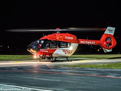 DRF Luftrettung HSD D-HDSD HAJ at Night (U. Heinze) Tags: aircraft haj hannoverlangenhagenairporthaj hubschrauber helicopter hsd drf olympus eddv night
