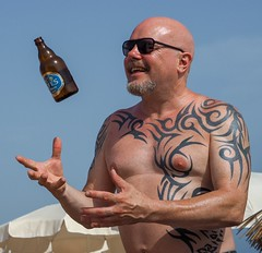 Efes lager and tattoos. (CWhatPhotos) Tags: cwhatphotos flickr tattoos tattoo tattooed man male bottle efes lager turkish turkey