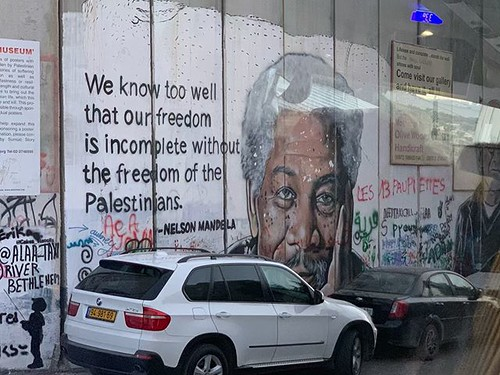 Graffiti of Morgan Freeman as Nelson Mandela from Invictus