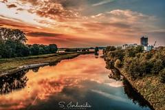 Sunset, River Lippe - Wesel (Stathis Iordanidis) Tags: sunset sundown draticsky dramaticsunset dramaticclouds river riverside riverlippe wesel germany nrw traveling reflctions
