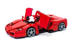 Enzo Ferrari 1:16 (14) (Noah_L) Tags: lego creation moc own ferrari enzo red car sportscar supercar hypercar noahl