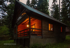 Wooden house in the forest, Russia (Phuketian.S) Tags: forest woodenhouse loghouse night evening outdoor cottage light log terrace country village tree nature дом дача деревянный свет россия москва phuketian вечер ночь природа лес закат russia moscow