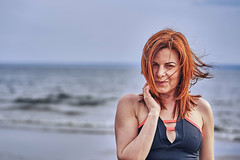Portrait of a middle-aged woman with red hair walking along the river bank. Sunny spring morning. Close-up. (afefelov68) Tags: woman women face wrinkles one person portrait red redhead averageage nature water vacation outdoor lifestyle summer beach beautiful beauty bokeh brown caucasian closeup clothes coast emotions female form girl hair joy lips long model morning nose outdoors people river shoulder sight sport spring ulyanovsk russia