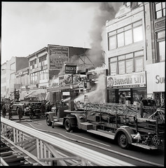 "19650523-MN-44-1477 (3) (Official New York City Fire Department (FDNY)) Tags: fdny fire firefighting 1960s vintage ""throwback thursday"" tbt ""fire engine"" truck"" water nyc ladder truck ""new york city"" building suppression"" firefighter rescue smoke flames manhattan"