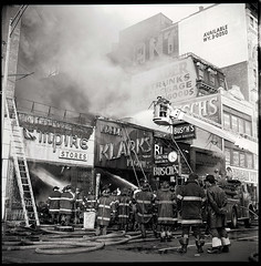 "19650523-MN-44-1477 (1) (Official New York City Fire Department (FDNY)) Tags: fdny fire firefighting 1960s vintage ""throwback thursday"" tbt ""fire engine"" truck"" water nyc ladder truck ""new york city"" building suppression"" firefighter rescue smoke flames manhattan"
