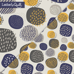 Abstract Circles in Mustard + Navy (latheandquill) Tags: spoonflower fabric pattern design navy blue mustard yellow gray grey circle abstract texture