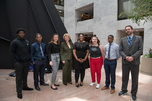 Senator Stabenow meets with students and faculty from Carman-Ainsworth High School.
