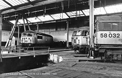 BR Class 56 Nos 56008 56108 56054 & Class 58 No 58032 inside the Roundhouse at Barrow Hill TMD on 26th February 1988 (robinstewart.smith) Tags: br barrow hill roundhouse tmd class 56 58 1988