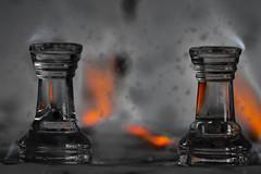 DSC_2838 (Myron_Emaldo) Tags: chess selective color macro micro red blackwhite black white contrast sharp war fire orange tower