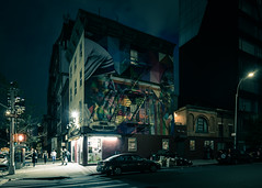 W 18th St and 10th Ave (onefivefour) Tags: chelsea nyc newyork night kobra ghandi mothertheresa mural street