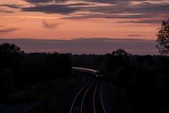 Southbound freight (Peter Leigh50) Tags: fuji fujifilm xt2 train track railway class 66 shed ews db cargo evening dusk sunset landscape sky