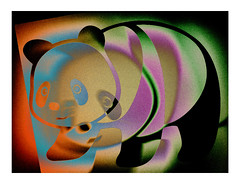 Poor Panda slowly coming back out of the wormhole (Armin Fuchs) Tags: arminfuchs goodpandacontest panda colors red yellow blue green niftyfifty explore2542019