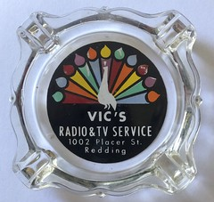 VIC'S RADIO & TV REDDING CALIF (ussiwojima) Tags: vicsradiotvservice tv radio redding california glass advertising ashtray