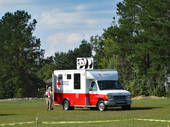 Good Panda Helps The Red Cross/ (dccradio) Tags: lumberton nc northcarolina robesoncounty sky clouds tree trees greenery foliage cautiontape grass lawn yard ground redcross disasterrelief hurricanerelief goodpandacontest goodpanda vehicle truck van red white outside outdoors outdoor