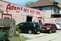 Adams Auto Body Shop, Milwaukee (Cragin Spring) Tags: milwaukee milwaukeewi milwaukeewisconsin wisconsin wi midwest urban city unitedstates usa unitedstatesofamerica car bodyshop adamsautobodyshop
