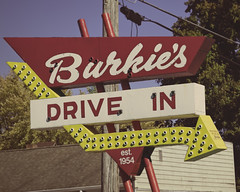 Burkie's! (Pete Zarria) Tags: green indiana hamburger fries malt shake red yellow eat drive arrow blue dead neon bulb sign old decay midwest food out