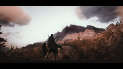 The big mountain against Arthur Morgan (Skinny LSD) Tags: red dead redemption 2 videogame photo ps4 paint man cinematic western westworld wallpaper cowboy horse rockstar filmphotography light nature