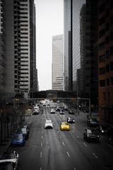 Downtown Calgary (ellieupson) Tags: calgary alberta canada street city cars traffic yellow taxi cab buildings road