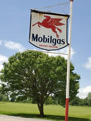 Mobil sign with flying red horse (Joanna Key) Tags: mobil gassign vintagesign flyinghorse pegasus illinois effingham mobilgas gas station sign