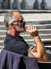 'Street Candid' (Canadapt) Tags: man street table cigarette smoking candid santarém portugal canadapt