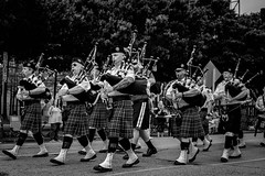 Since You Can't View A Photo Why Not Upload One (Explore) (burnt dirt) Tags: parade bag pipes march band kilt scotland scottish highlands beret bagpipes fujifilmxt1 black white bw