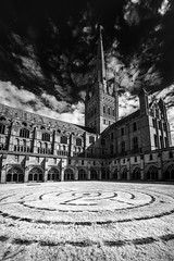 Norwich Cathedral Infrared Panoramic (GeorgeKBarker) Tags: norwich norfolk cathedral structure stone limestone sky clouds black white monochrome contrast high 720 infrared panoramic grass architecture old church protestant perspective pano