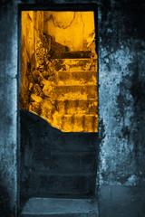 The warm way back home (lebre.jaime) Tags: portugal beira covilhã doublemonochrome house entrance stairs nikon d600 voigtländer nokton 58f14sliis architecture