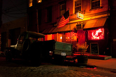 Sunny's Red Hook (Someone's Name) Tags: redhook nyc newyork newyorkcity sunnysbar sunnys bar night drink cozy fridaynight drinking oldschool brooklyn truck jeep flag patriotic americanflag cobblestone cobblestoneroad road jeepwillys classiccar street