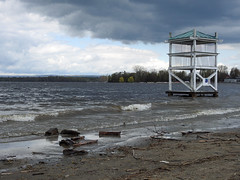 The lifeguard tower overwhelmed by the flooded, raging Ottawa River at the Britannia Bay beach in Nepean (Ottawa), Ontario (Ullysses) Tags: lifeguardtower beach plage britanniabaybeach britanniabaypark ottawariverfloodof2019 spring printemps ottawariver flooding flood inondation springthaw nepean ottawa ontario canada