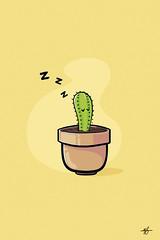 Sleepy Cactus (Ephraim Fowler) Tags: ephraim fowler cactus cute pot flatart art digitalart illustration
