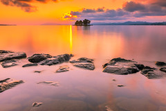 sunset 5017 (junjiaoyama) Tags: japan sunset sky light cloud weather landscape orange yellow purple color lake island water nature spring reflection calm dusk serene rock sun