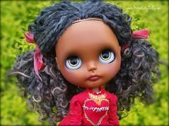 Farah (Motor City Dolly) Tags: custom ooak blythe doll blythes color black brown curly hair wensleydale reroot motor city dolly sandra coe