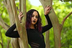img_4709 (steevithak) Tags: cemetery modeling model blackdress purplehair blacklips darkbeauty graveyard greenwoodcemetery dallas texas tx