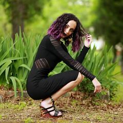 img_4686-sq (steevithak) Tags: cemetery modeling model blackdress purplehair blacklips darkbeauty graveyard greenwoodcemetery dallas texas tx