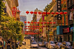 Chinatown, San Francisco, CA (Christina's World :) Tags: sanfrancisco california red northerncalifornia colorful chinatown cityscape creative bayarea grantstreet largecity 6034 street people architecture buildings vibrant streetphotography dramatic textures pedestrians motor crowds hdr topaz kp eoft cars automobiles crowded hss sliderssunday fragiletouch urban city town bigcity americancity