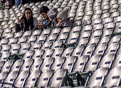 It's Time, Folks... (Wes Iversen) Tags: chicago chicagocubs clichesaturday hcs illinois nikkor18300mm wrigleyfield wrigleyville baseball fans men people seats spectators stockinghats women patterns repetition