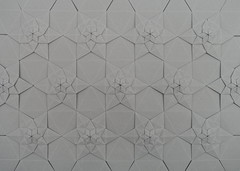 Lucky Star Fractal Tessellation + notes on Tant paper (Michał Kosmulski) Tags: origami tessellation star fractal selfsimilarity paperreview michałkosmulski tantpaper grey gray