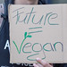 The Future is vegan - Poster in a mans hand at Fridays for future demonstration in Cologne, Germany