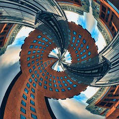 Extenta (STEHOUWER AND RECIO) Tags: extenta building buildings architecture stretched urban city art magical contrast shapes colour colours colourful perspective angle processing abstract magic space heaven sky creative photoart effect