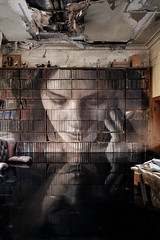 The Study (realstephenwhite) Tags: mural portrait abandoned interior decay derelict realstephenwhite art face rone stephenwhite empire painting streetart