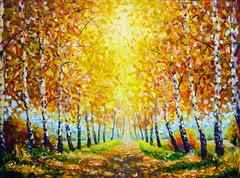 Autumn theme Painting oil - alley of autumn trees  - modern art impressionism abstract landscape acrylic paint artwork (Painting by Rybakow) Tags: painting oil autumn birches alley park forest autumntrees modern art impressionism abstract landscape acrylic paint artwork