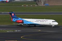 OM-BYB Fokker 100 EBBR 13-05-19 (MarkP51) Tags: ombyb fokker 100 slovakiangovernment brussels zaventem airport bru ebbr belgium airliner aircraft airplane planr image markp51 nikon d500 plane nikon200500f56vr nikond500