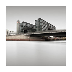 Arrival (GlennDriver) Tags: berlin germany long exposure square canon nd train stastion river water europe architecture building black white bnw bw blackandwhite mono monochrome fineart