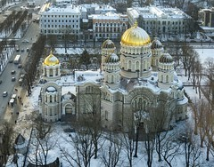 Nativity of Christ Cathedral (Wormsmeat) Tags: cathedral church domes gold golden olympus penf 12100mzuikopro winter cold snow baretrees history soviet russia riga latvia othodox lutherian planetarium