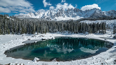 Lake Carezza (Alex&HisNikon) Tags: carezza lake dolomites reflection mountains italy alps snow winter scene samyang14mm samyang nikond750 nikon