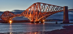 Dusk over the Forth Rail Bridge (Mr_Pudd) Tags: rivercrossing railway forthestuary riverforth bridge victorian paint iron artificiallight cloud dusk scotland outdoorphotography outdoor southqueensferry forthrailbridge nikon nikond750