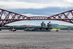 HMS Queen Elizabeth air craft carrier. (stirrup@live.co.uk) Tags: road crossing navy rail aircraftcarrier queenelizabeth queensferry hms bridge air craft carrier