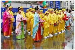 Sunshine and Rain (donbyatt) Tags: london trafalgarsquare falungong dance colour street people candid dancers