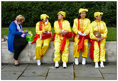 She's not with us (donbyatt) Tags: london trafalgarsquare falungong dance colour street people candid dancers